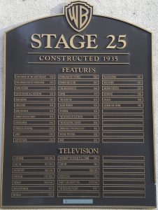 Plaque outside the soundstage indicating which movies and TV shows were filmed there.