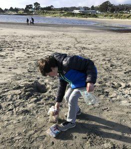 Nephew collecting trash