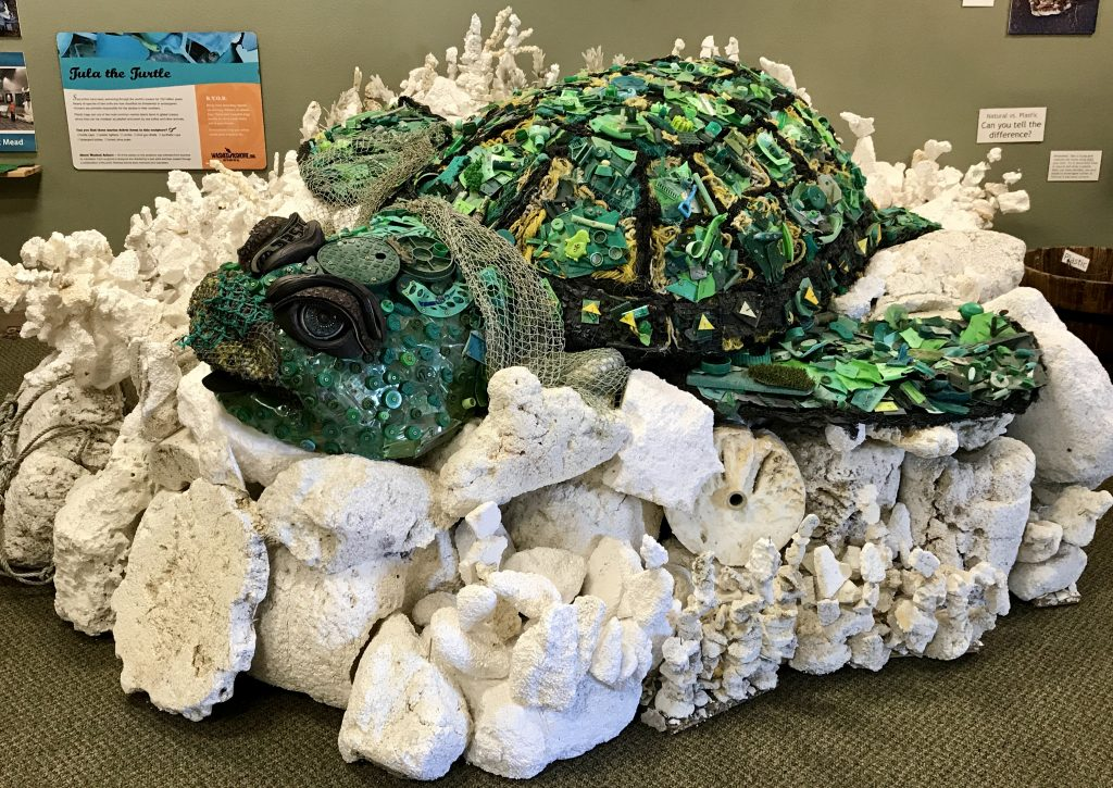 Sea turtle made from pieces of trash collected on Oregon's beaches