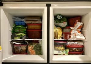 Our little freezer is stuffed with food for our trip up north.