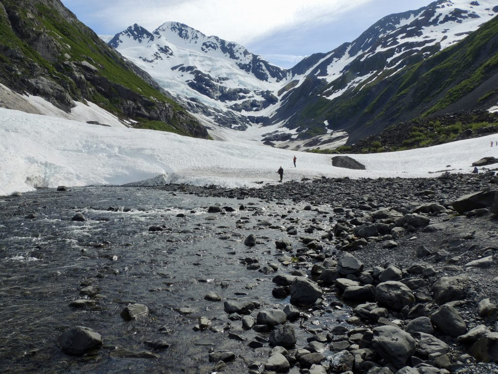 Meltwater from the glacier feeds a rushing creek below it.