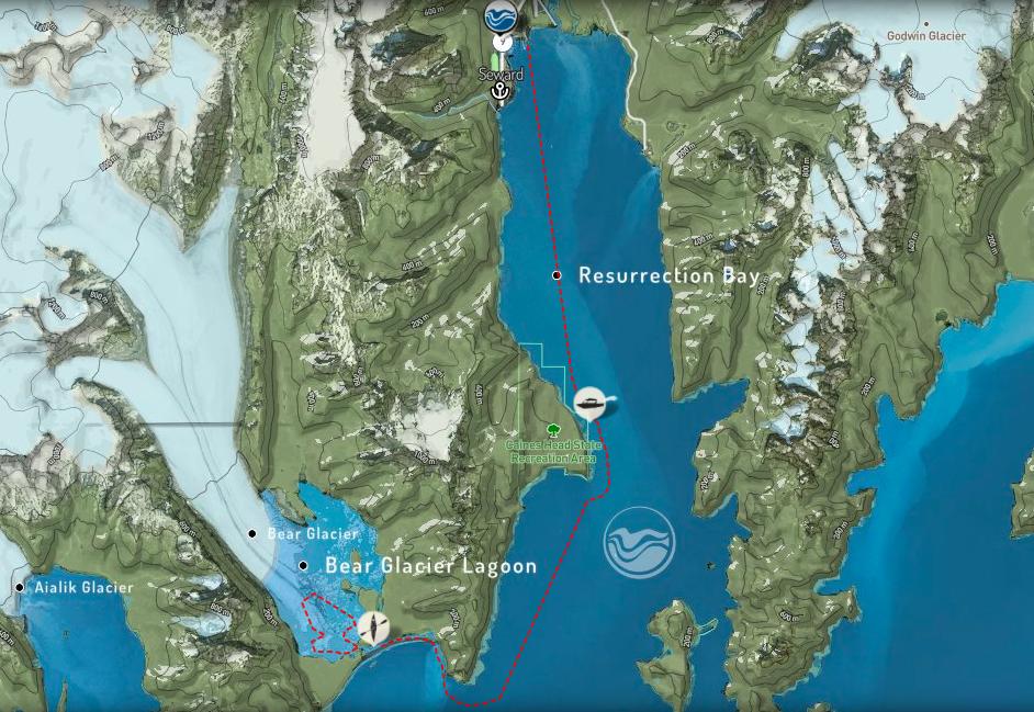 Bear Glacier tour route