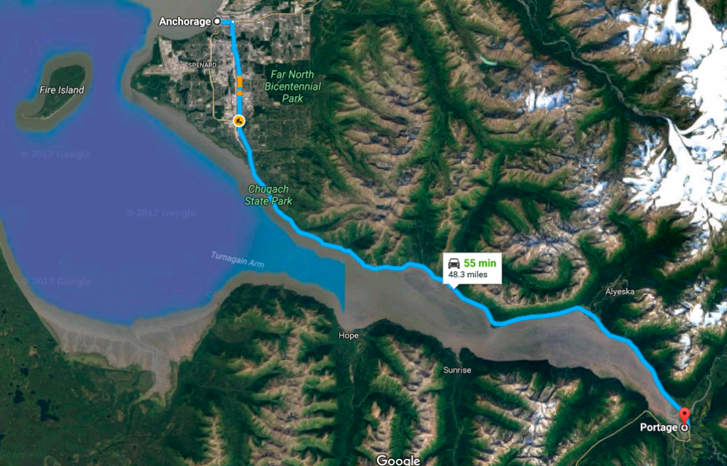 Route from Anchorage to Portage