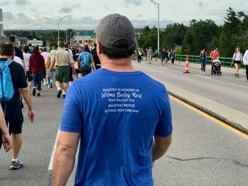 Several walkers wore shirts memorializing other past walkers.