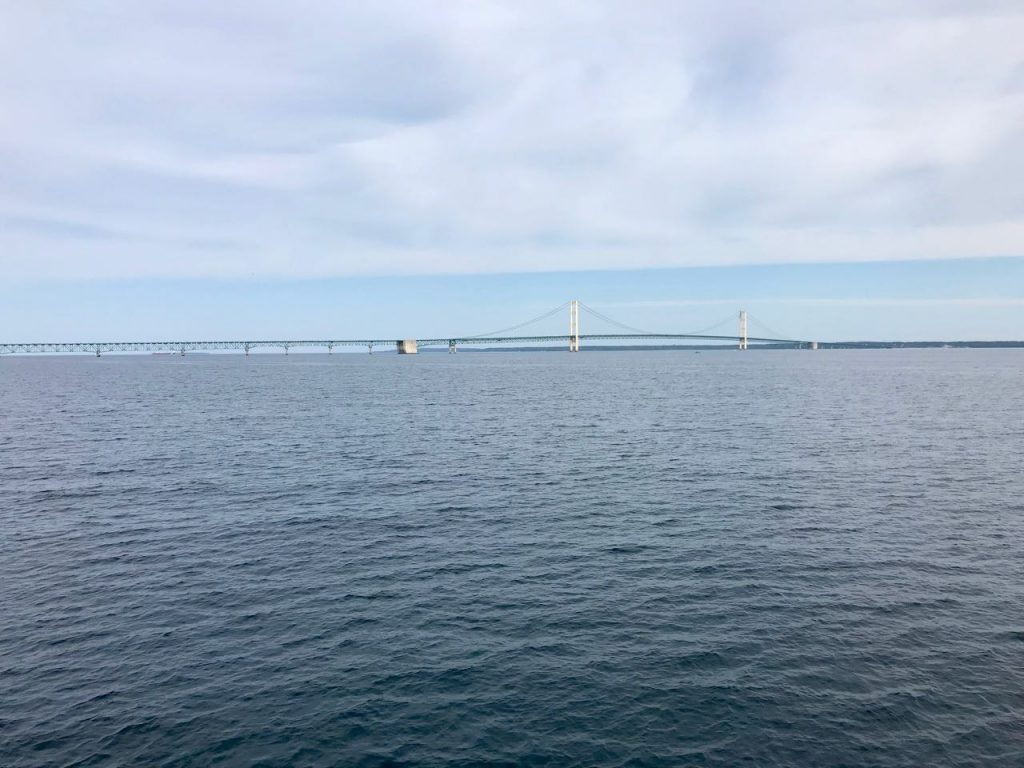 Mackinac Bridge from Lake Huron