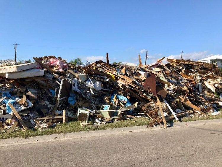 Piles of debris in Port A